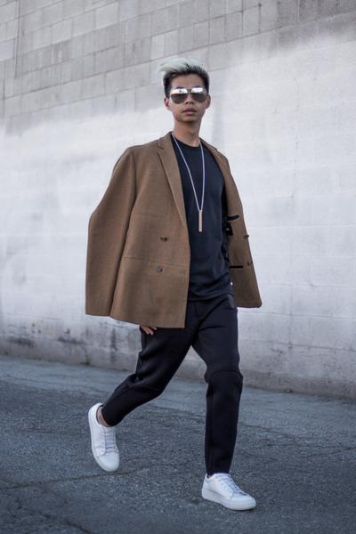 white sneaker acne shoes - light brown camel asos coat