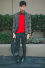 Teal-zara-shoes-black-cult-of-individuality-jeans-red-zara-sweater