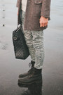 Light-brown-tweed-zara-coat-black-all-saints-boots