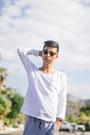 Sky-blue-tretorn-shoes-white-sweatshirt-scrapes-and-gravel-shirt