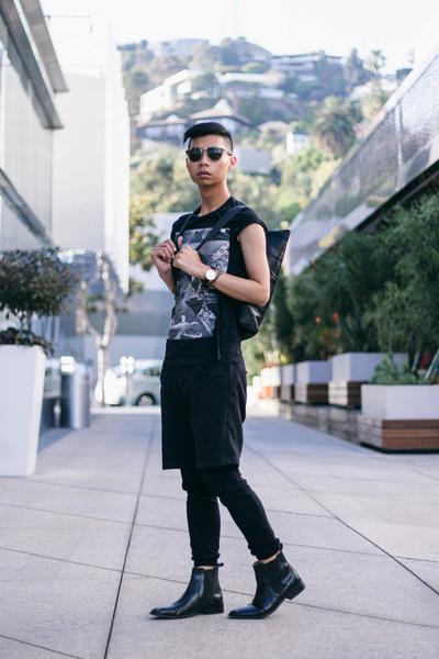 black graphic tee asos shirt - black backpack Kao Pao Shu bag