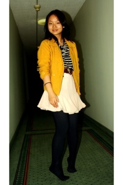 yellow jacket - blue stripped H&M shirt - pink flared skirt