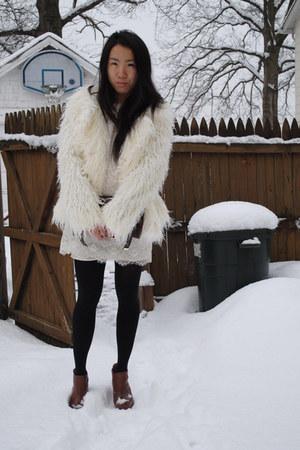 Mink Pink blazer - Topshop boots - Forever 21 dress