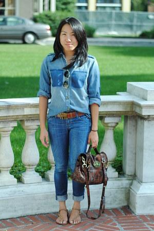 denim shirt Current Elliott top - Citizen of humanity jeans - alexa Mulberry bag