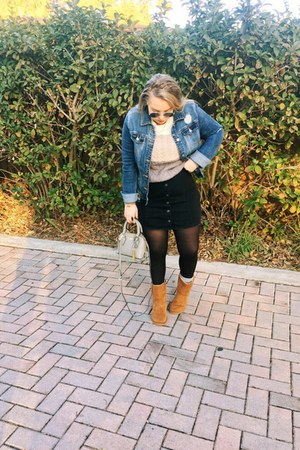 blue denim Target jacket - bronze boots - silver Zara sweater