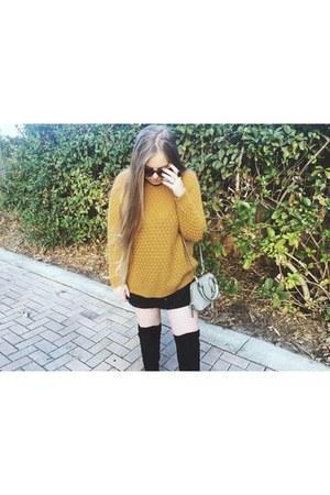 black Target boots - mustard Forever 21 sweater - silver Steve Madden bag