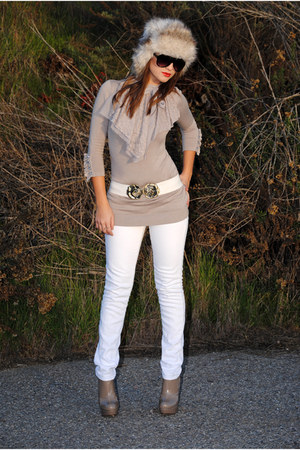 dark brown H&M hat - beige Forever 21 shirt - tan Steve Madden heels