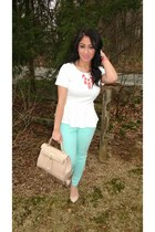 nude Aldo bag - white Forever21 top - bubble gum Charlotte Russe necklace
