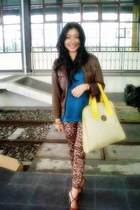 brown Forever 21 jacket - dark brown Zara leggings - yellow Ghost bag