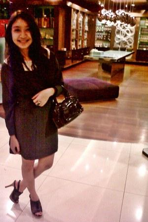 black Zara dress - dark brown Marc Jacobs bag - black Charles & Keith heels
