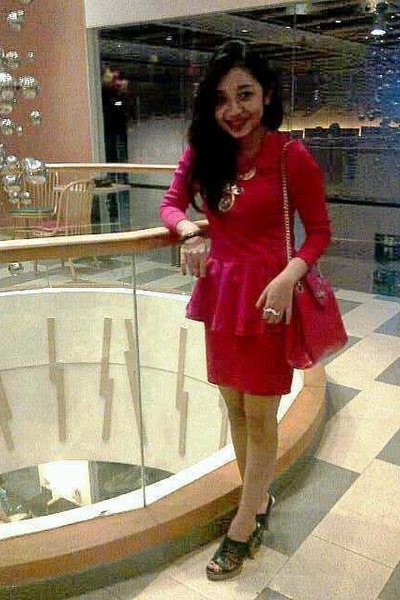 red Zara dress - ruby red Zara bag - black Charles & Keith heels