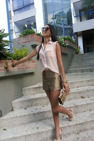 Forever 21 shorts - agaci blouse - Forever 21 heels