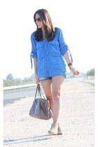 tan Bimba y Lola boots - blue Zara shirt - tan Bimba y Lola bag - teal Mango sho