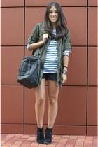 Stradivarius coat - Cortefiel boots - Mango bag - Zara shorts - H&M t-shirt
