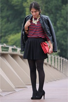 Stradivarius jacket - su shi bag - Mango pumps - Zara t-shirt - Zara skirt