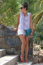 Stradivarius shirt - DIY bag - BLANCO shorts - H&M flats