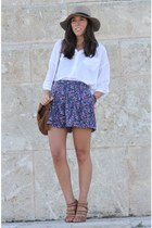 asos hat - white Stradivarius shirt - Massimo Dutti bag - Zara shorts