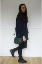 dark green Primark bag - black Chelsea boots boots - green H&M dress