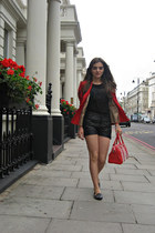black leather warehouse shorts - red Zara blazer - red studded bag pull&bear bag