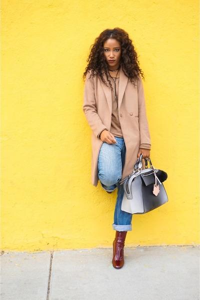 crimson Zara boots - blue thrifted vintage jeans - tan H&M jacket