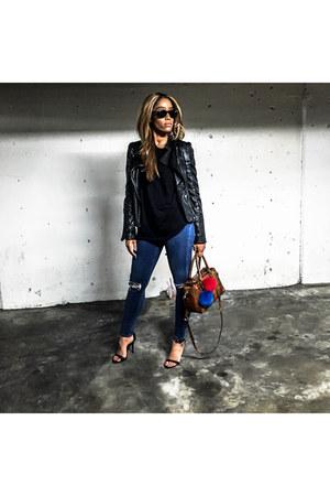 black Zara jacket - blue Topshop jeans - black brandy melville sweater