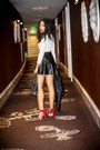 White-h-m-top-black-h-m-skirt-red-vince-camuto-heels