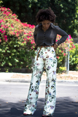 dark green Forever 21 shirt - eggshell Zara pants