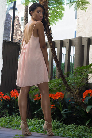 light pink Charlie Jade dress - beige Zara heels