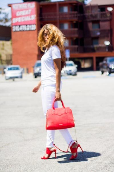 white Missoni shirt - hot pink Rebecca Minkoff bag - white hollister pants