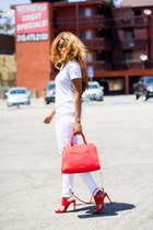 white Missoni shirt - hot pink Rebecca Minkoff bag - white hollister pants