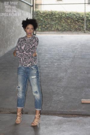 light blue Zara jeans - amethyst Topshop sweater - nude Zara heels