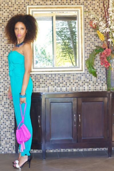 Target purse - aquamarine Charlie Jade bodysuit - Target heels