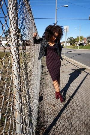 crimson Zara boots - crimson Zara dress - black Zara jacket