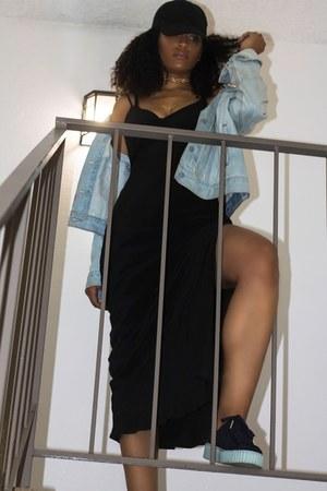 black Puma shoes - black Charlie Jade dress - blue Levis jacket