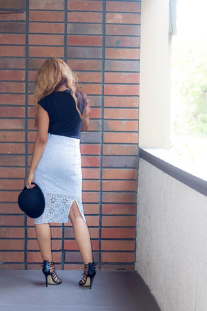 black H&M hat - black LA Made shirt - light blue Zara skirt