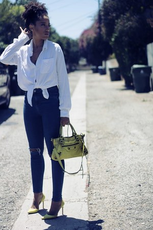 navy Topshop jeans - white Target blouse - yellow manolo blahniks heels