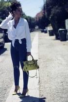 navy Topshop jeans - white Target blouse - yellow manolo blahniks heels