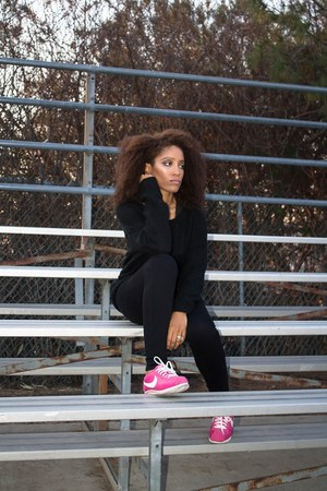 hot pink nike shoes - black Target jeans - black Target sweater