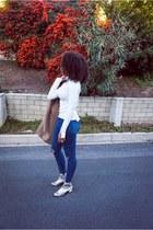 beige Zara boots - blue Topshop jeans - camel H&M jacket - cream Zara top