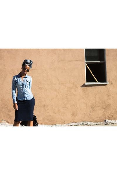blue H&M top - navy Forever 21 skirt - black H&M hair accessory