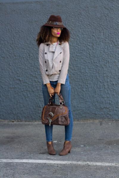 f21 jeans - JustFab shoes - f21 hat - Gap jacket - Target shirt - dior purse