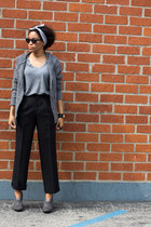 heather gray thrift sweater - charcoal gray Payless shoes - black thrift pants