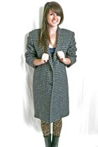 Vintage Wool Houndstooth Coat, MEDIUM