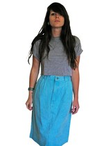 Vtg Tri-Blend Teal Denim Aline Jean Skirt, LARGE / XL