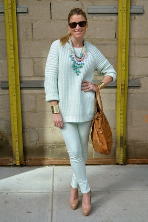 Anthropologie necklace - Zara jeans - H&M sweater - Marc by Marc Jacobs bag