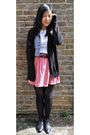 Black-uni-qlo-cardigan-pink-zara-skirt-brown-sisters-haha-belt-black-camde