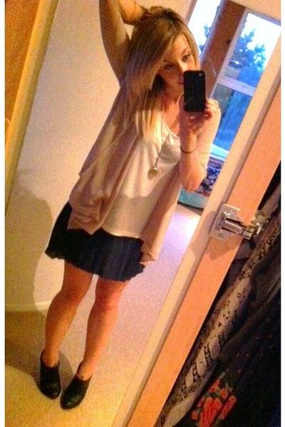 Motel skirt - new look shoes - Dorothy Perkins vest - Miss Selfridge cardigan