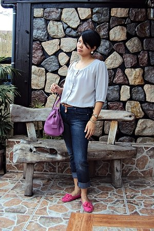 dark blue mrlee jeans - Lacoste bag - no brand flats - gray chiffon no brand top