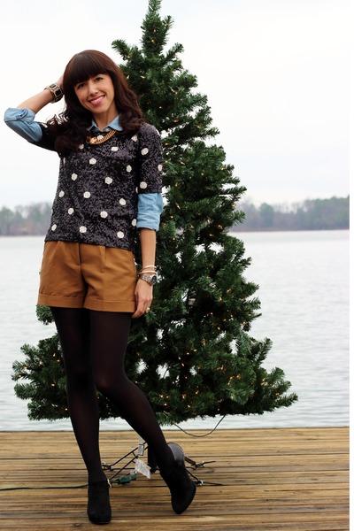 light blue JCrew shirt - black vincent camuto boots - black JCrew sweater