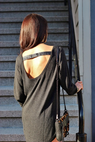 H&M shirt - Vince Camuto boots - Something Else sweater - Rebecca Minkoff purse